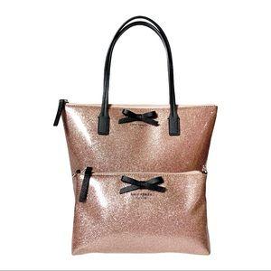 Kate Spade Mavis St Jeralyn Tote Rose Gold Pink ++